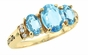 Large Oval Birthstone Triplet Gold Ring - with Genuine Stones - click to Enlarge