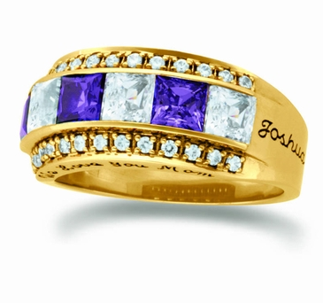 Large Princess Cut Birthstone Personalized Gold Band - with Genuine Stones
