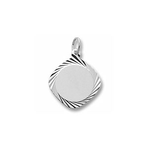 Large Square Disc Charm with Diamond Cut Border by Forever Charms - Personalized
