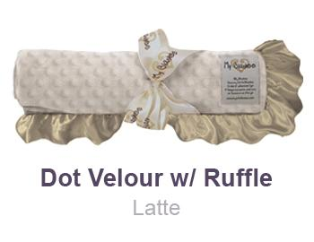 Latte Dot Velour with Ruffle Trim Blanket by My Blankee