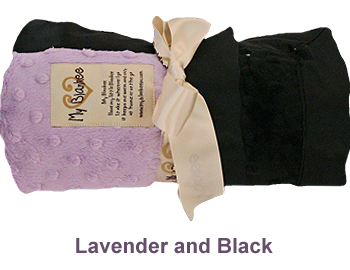 Lavender Black Dot Velour Two Tone Blanket by My Blankee