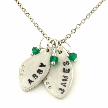 Leaf Name Charm Necklace