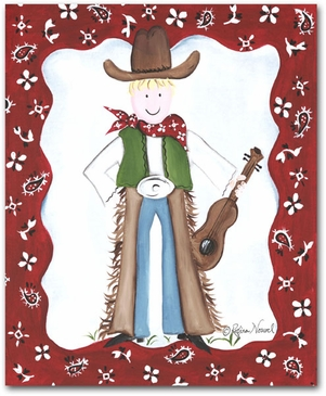 Lil Wrangler - Cowboy Guitar Canvas Wall Art