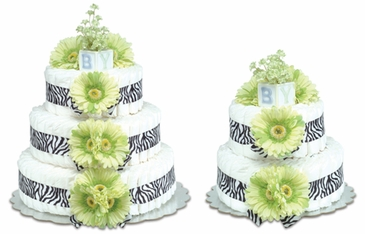 Lime Green Daisies with Zebra Trim - Safari Baby Diaper Cake