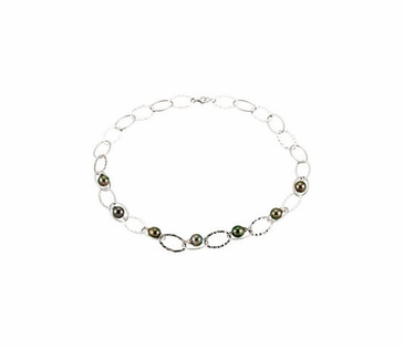 Linked Chain Necklace with Tahitian Pearls