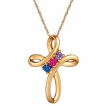 Love Knot Birthstone Necklace - with Genuine Stones