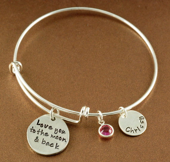 bangle jones heart main personalized bangles kids girls p stainless steel pebbles