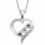 Loving Heart Family Pendant Necklace - with 3 Birthstones