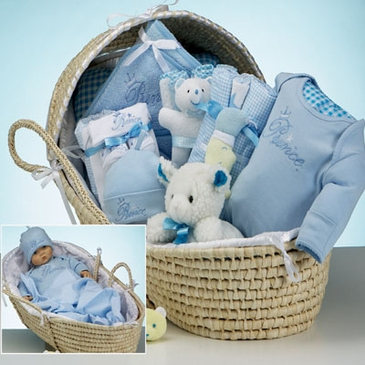 Luxury Moses Basket Gift Set - Boy