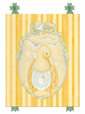 Mama Duck Pastel Green Stretched Art Personalized by Dish and Spoon