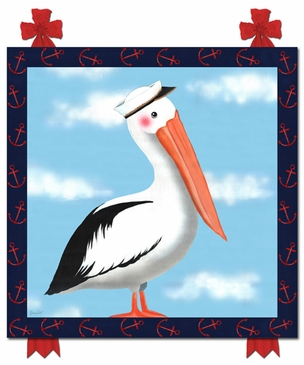 Maritime Pelican Nautical Navy Stretched Art Personalized by Dish and Spoon