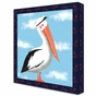 Maritime Pelican Nautical Navy Stretched Art Personalized by Dish and Spoon - click to Enlarge