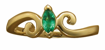Marquise Birthstone Double Swirl Ring