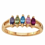 Marquise Birthstone Ring in Gold