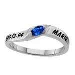 Marquise Solitaire Sterling Silver Ring - Personalized