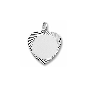Medium Heart Disc Charm with Diamond Cut Border by Forever Charms - Personalized