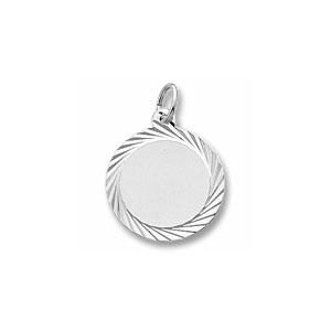 Medium Round Disc Charm with Diamond Cut Border by Forever Charms - Personalized