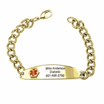 Men's Oval Goldtone Medical Alert Bracelet - Personalized