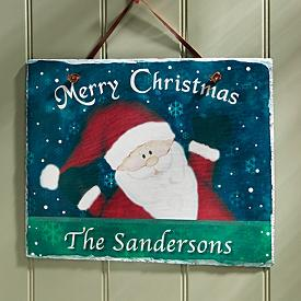 Merry Christmas Santa Plaque - Personalized
