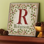 Merry Family Initial and Name Canvas Wall Art