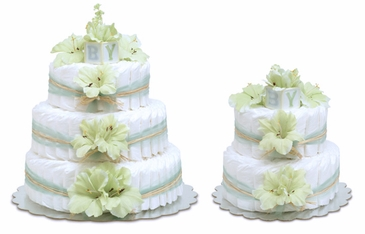Mint Green Gladiolas - Hawaiian Baby Diaper Cakes