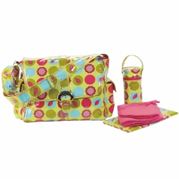 Mod Dots Citron Laminated Buckle Diaper Bag by Kalencom