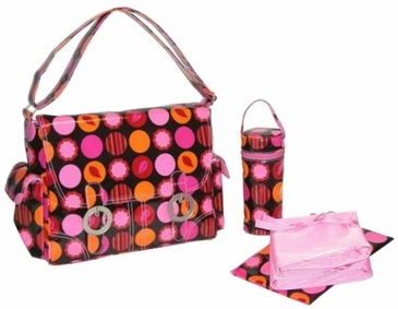 Mod Dots Fire - Coated Double Buckle Diaper Bag by Kalencom