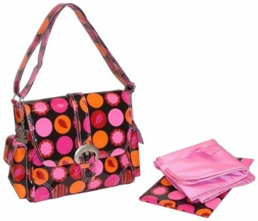 Mod Dots Fire - Midi Coated Buckle Diaper Bag by Kalencom