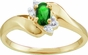 Modern Birthstone Bypass Ring with Diamonds - click to Enlarge