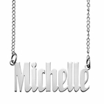 Modern Narrow Script Name Necklace