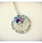 Mom Birthstone Necklace with Children's Names