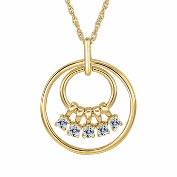 Mom's April Birthstone Charm Circle Necklace