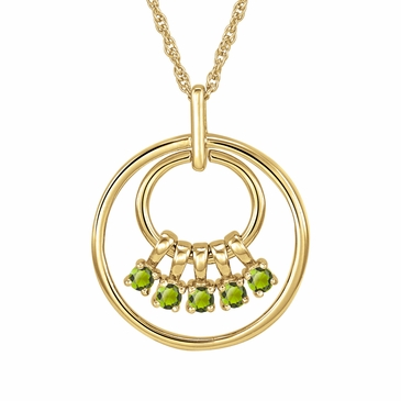 Mom's August Birthstone Charm Circle Necklace