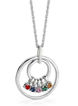 Mom's Birthstone Charm Circle Necklace