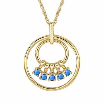 Mom's December Birthstone Charm Circle Necklace
