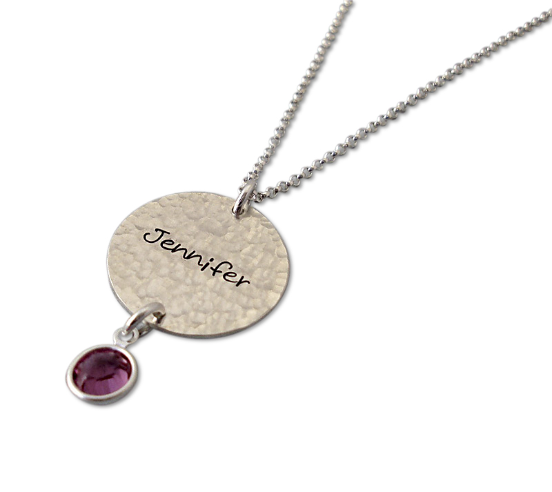 mom s hammered birthstone charm necklace personalized bliss living