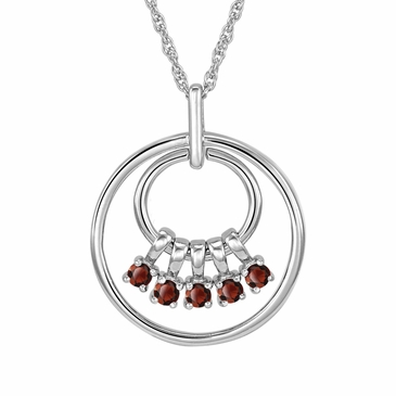 Mom's January Birthstone Charm Circle Necklace