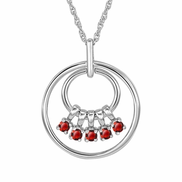 Mom's July Birthstone Charm Circle Necklace