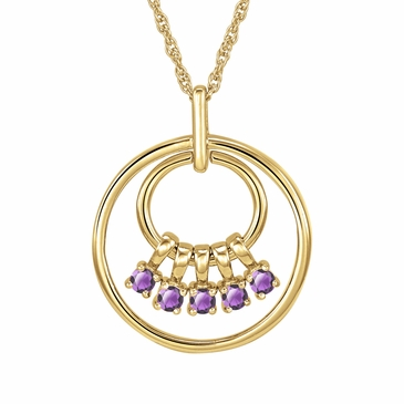 Mom's June Birthstone Charm Circle Necklace