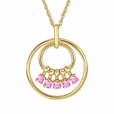 Mom's October Birthstone Charm Circle Necklace