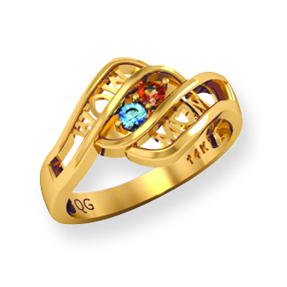 """Mom"" Swirls Family Birthstone Ring"