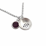 Monogrammed Curved Charm Necklace with Birthstone