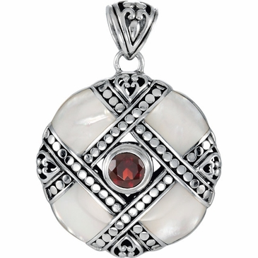 Mosaic Mother of Pearl and Garnet Pendant
