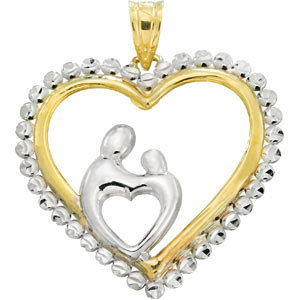 Mother and Child Heart Pendant with Beading