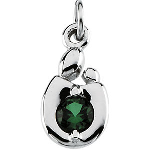 Mother and Child May Birthstone Charm