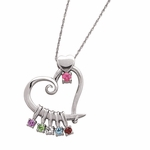 Mother's Heart Pendant with Birthstones Necklace
