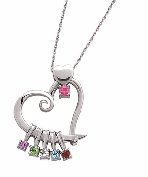 Mothers heart pendant with birthstones necklace aloadofball Images