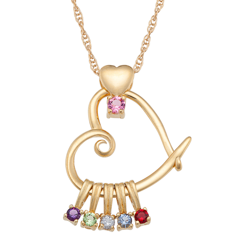 Mothers heart pendant with birthstones necklace aloadofball Gallery