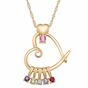 Mother's Heart Pendant with Birthstones Necklace - click to Enlarge