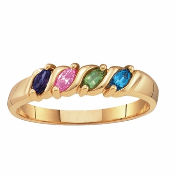 Mother's Marquise Birthstones Ring 10k Gold
